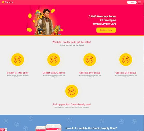 omnia casino bonus page