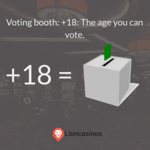 Voting booth: +18: The age you can vote.